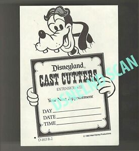 Disneyland-Vintage-Unused-Cast-Haircut-Appointment-Goofy-Card-dated-1982