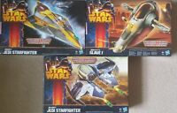 Star Wars class 2 vehicles: Boba Fett Slave 1, Anakin and Obi Wan's Starfighter
