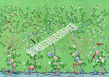 Dolls House Wallpaper Mural Green Birds 1/12th scale Quality Paper #11 Miniature