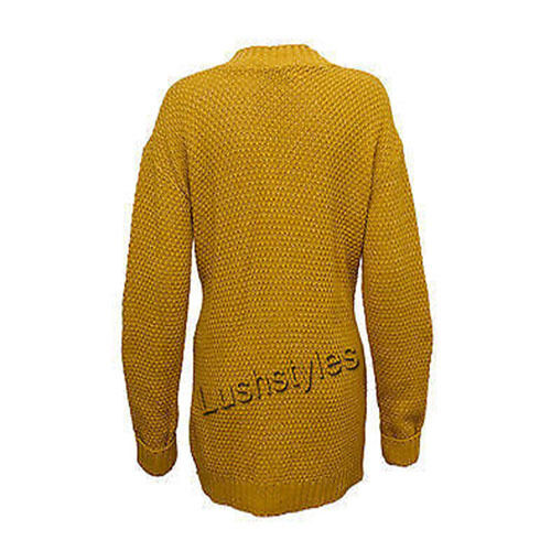 Ladies Cardigans Womens Knitted Jumper Cable Jacquard Boyfriend Chunky Winter