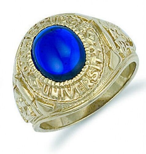 College Ring Solid Yellow gold bluee Stone Graduation