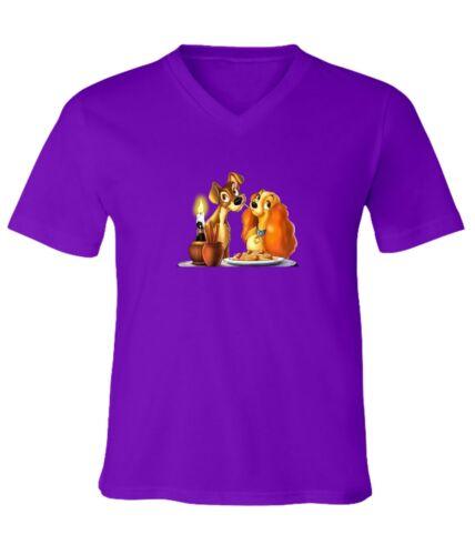 Disney Lady and the Tramp Spaghetti Kiss Men Women Unisex V-Neck Short T-Shirt