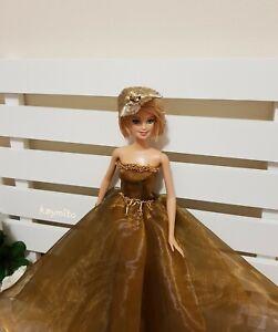 New-golden-organza-silk-princess-dress-for-your-Barbie-dolls-AU-Made