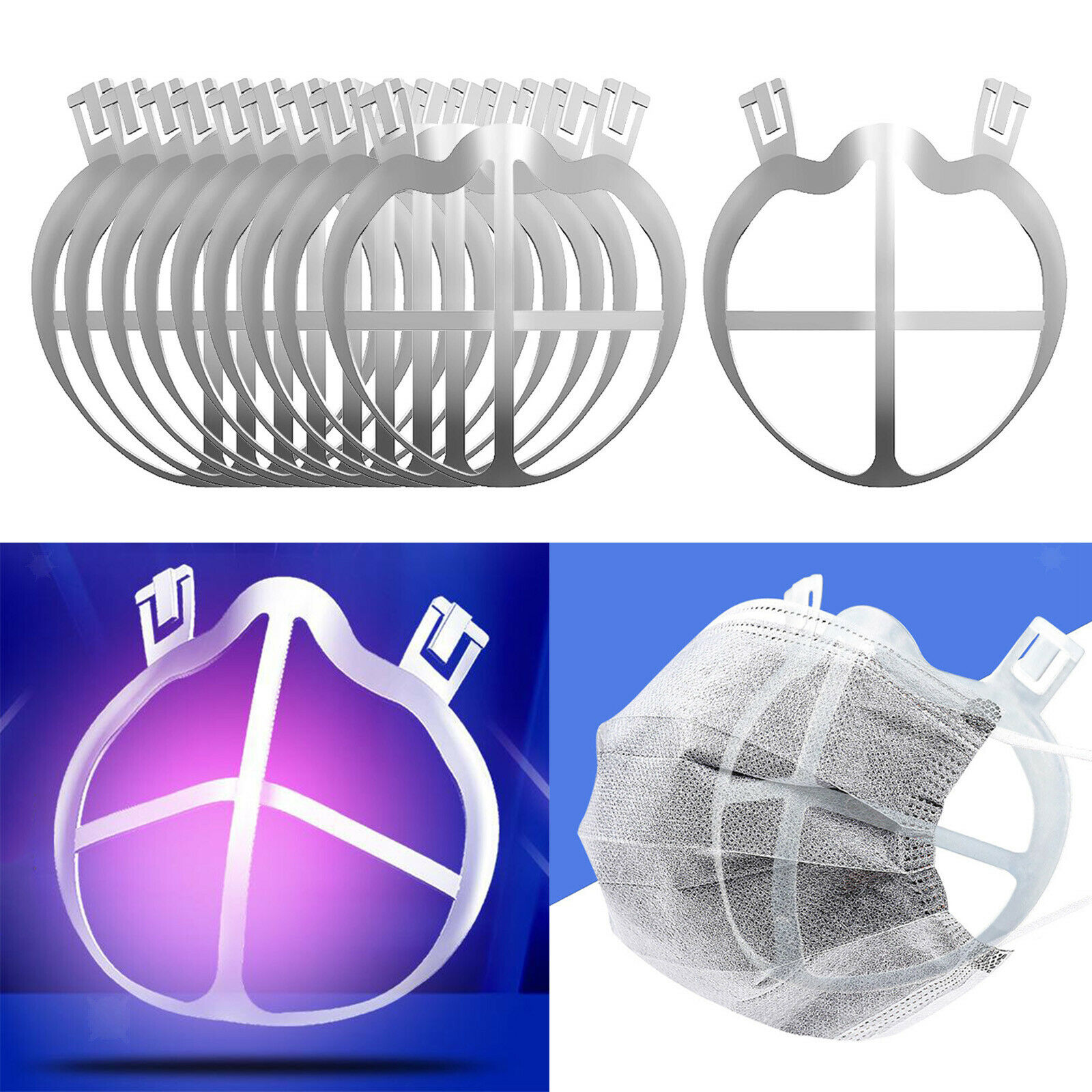10 Pieces Face Mask Bracket 3D Protect Lipstick Breathing Rack Keeper Frame