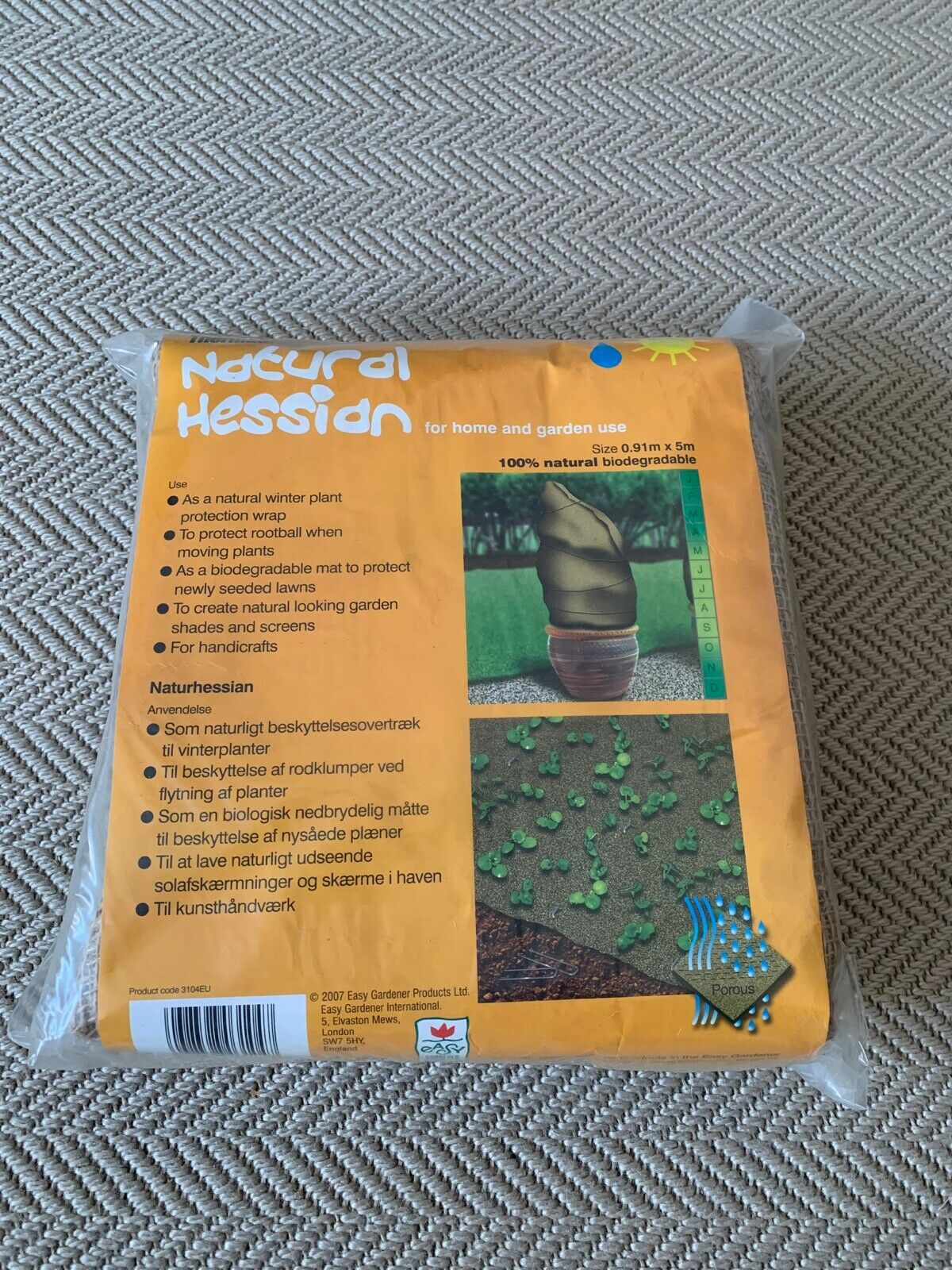 100% Bio Hessian blanket .9m x 5m frost cover, new seed protect, privacy screen