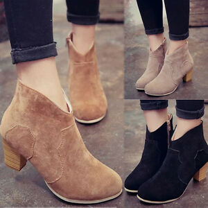 691bec808 Women Short Cylinder Boots High Heels Boots Shoes Martin Boots Ankle ...