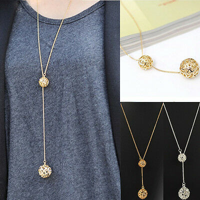Elegant Ladies Double Hollow Ball Pendant Long Chain Necklace Jewelry Fashion