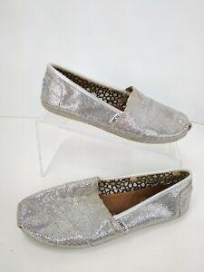 TOMS-Silver-Metallic-Glitter-Womens-Sz-9-Classics-Shoes-Flats-Wrap-Style-Slides
