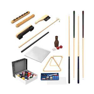 Pool-Table-Accessory-32-Piece-Kit-Billiards-Balls-Cues-Stick-Repair-Roman
