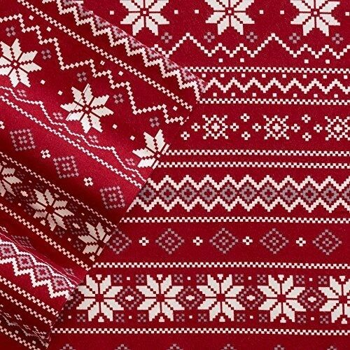 100% Cotton Heavyweight Flannel QUEEN Sheet Set, rot Scandinavian Fair Isle