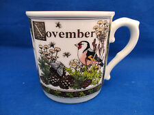 Royal Worcester Months of Year Mug NOVEMBER Pink Bird Sue Scullard Gold  3.5""