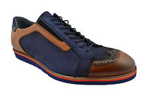 $230 NUKTE Blue Brown Leather WINGTIP Oxfords Casual Sneakers Men Shoes