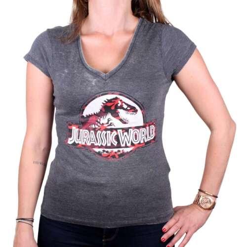 Jurassic World-Premium Vintage licenza da Donna T-SHIRT-Classic Logo (tg S-XL)