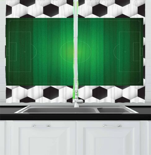 """Soccer Kitchen Curtains 2 Panel Set Home Decor Window Drapes 55/"""" X 39/"""" Ambesonne"""