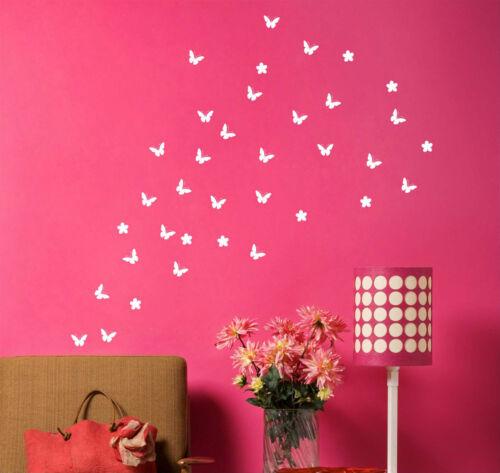 54 Papillon avec fleurs jusqu/'à 54 WALL ART STICKERS VINYL DÉCALCOMANIES Wall Decor