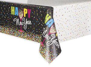 Negro-amp-Color-Brillante-Ano-Nuevo-Mantel-Plastico-Fiesta-Ano-Nuevo-Celebracion