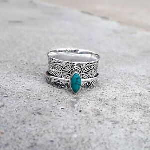 Turquoise-925-Sterling-Silver-Spinner-Ring-Meditation-statement-ring-Size-SA8989