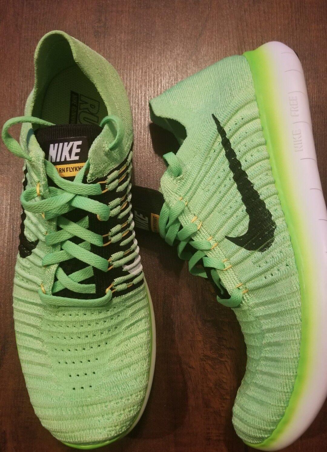 NIKE Free RN Flyknit Mens Sz 10 shoes NEON Green 831069 300