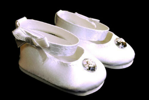 White Satin Dress Shoes with Rhinestone made for 18 American Girl Doll Clothes