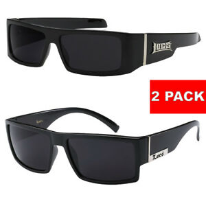 8fcead64ab 2 Pack MEN Dark Lens Gangster BLACK OG Sunglasses Cholo LOCS BIKER ...