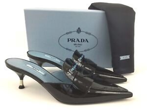 95da89923fc PRADA Logo Black Patent Leather Pointy Toe Mule Slide Shoes 38 8 ...