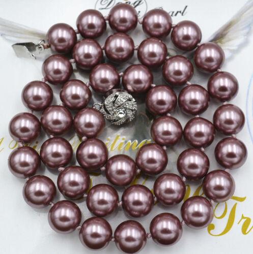 8mm//10mm violet foncé South Sea Shell collier de perles 16//18 pouces de long