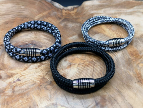 Grau Wickelarmband-Surfer Style-Magnetverschluß Blau Segeltau Armband Schwarz