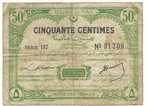 Tunisia-Tunisie-Algeria-50-Centimes-1920-1338-Banknote-P48-Rare-Francais-Money
