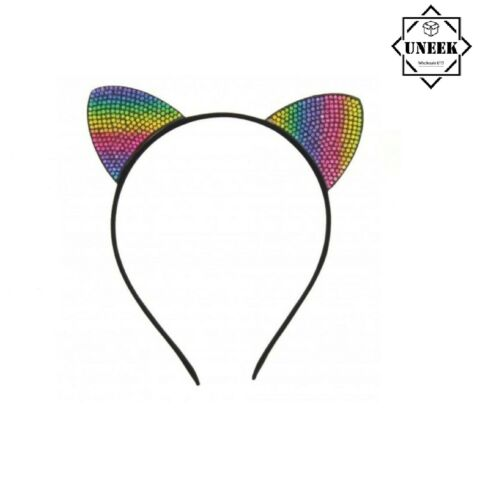 CAT EARS RAINBOW RHINESTONE Headband Animal Pony Pride LGBT Fancy Dress Z31351UK