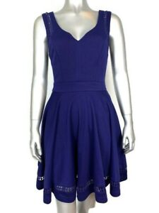 Anthropologie-Emmelee-Womens-Size-Small-Royal-Blue-Sleeveless-Fit-amp-Flair-Dress