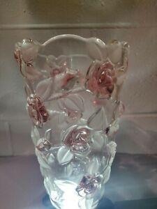 Mikasa-Bella-Rose-Pink-Frost-9-5-034-Crystal-Vase