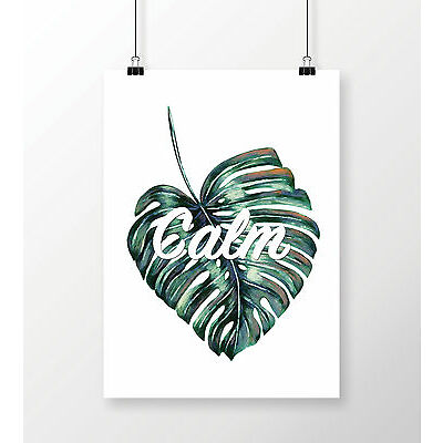 Typography Calm Quote Art Print A3 Modern Wall Art Home Decor Palm Tree Leaf
