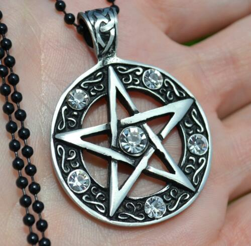 Pentagramme Pentacle occulte Wicca Sorcière Wicca Pewter Collier Pendentif CLR.