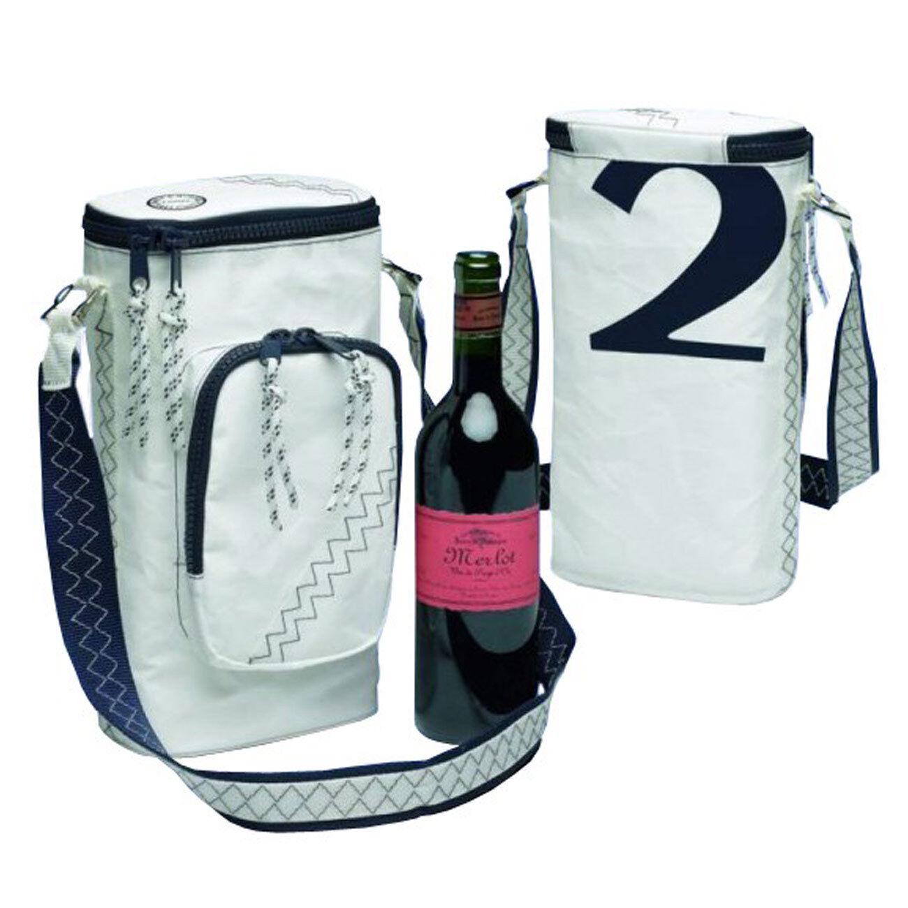 Wein-Kühltasche Sea Princess aus Segeltuch - trendiger Weinkühler für 2 Flaschen