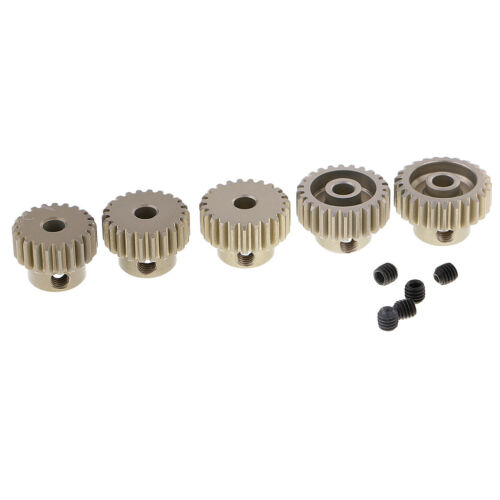 5Pc 21T-25T Steel Motor Pinion Gear 3.175mm Shaft 48DP For RC 1:10 Model Car