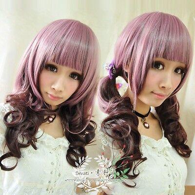 Long curly cosplay wig pink mixed brown Lolita Harajuku style wig Free Shipping