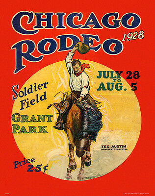 CHICAGO RODEO 1928 MAG19 BULL RIDING MOTIVATIONAL POSTER RODEO COWBOY POSTER,