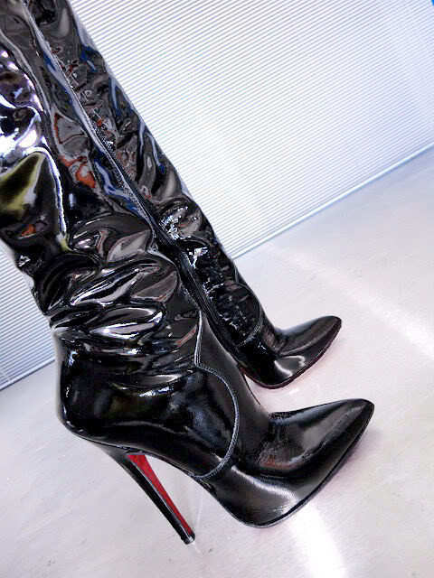 CQ COUTURE OVERKNEE HOT EXTREME HEEL LEATHER Stiefel STIEFEL STIVALI LEATHER HEEL BLACK NERO 42 d52af0
