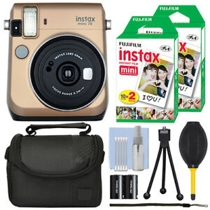 Fujifilm Instax Mini 70 Fuji Instant Film Camera Gold + 40 Film Bundle 742880769294