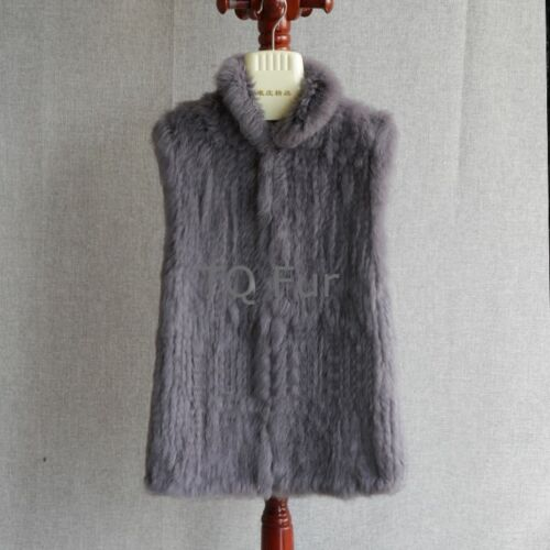 New Real Knitted Rabbit Fur Vest Stand Up Collar Waistcoat Thick Gilet Jacket
