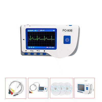 Hand-held PC-80B Color LCD ECG EKG Heart Monitor Test Sensor +Pin lead Wire+Pads
