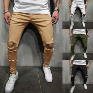 Men-Pants-Slim-Jeans-Stretch-Frayed-Destroyed-Ripped-Skinny-Casual-Trouser-Biker