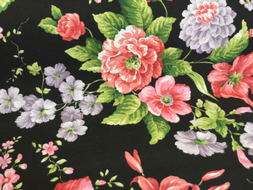 Black Rose Fabric Retro Floral Print for Curtains Upholstery 280cm EXTRA WIDE