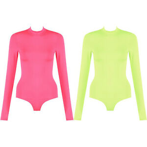 2924fe8e6f797d Image is loading High-Neck-Long-Sleeve-Neon-Stretch-Bodycon-Bodysuit-
