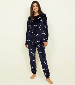 preview of to buy full range of specifications Details about new look women Navy Star Print Fleece pyjama set Size  UK16/EUR44 BNWT