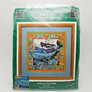 14-ct-Counted-Cross-Stitch-Kit-Blue-Whale-Starfish-Shells-Ocean-76286-Vintage