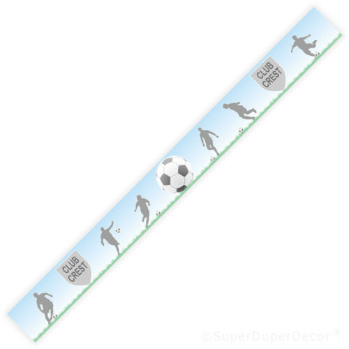 FOOTBALL BLUE SKY personalised bedroom WALL BORDER STRIPS name fc club crest