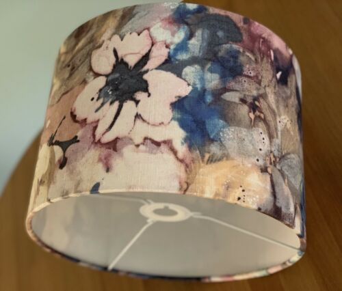 Handmade Lampshade Modern Floral Fabric Indigo Blue Dusky Pink Linen Rose Lily