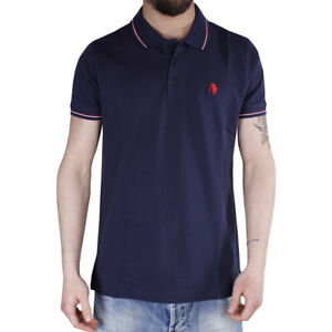 Polo-Uomo-Sport-Cotone-Colletto-Righe-Maniche-Corte-3-Bottoni-T-Shirt-Blu-SARANI