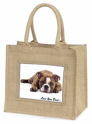 Gestromte Bulldog 'Liebe dich Papa' Große Natürliche Jute-einkaufstasche Chris,